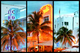 Triptych Collection - Colorful Ocean Drive - South Beach - Miami Beach Art Deco Distric - Florida Photographic Print by Philippe Hugonnard