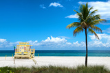 South Miami Beach Landscape with Life Guard Station - Florida Photographic Print by Philippe Hugonnard