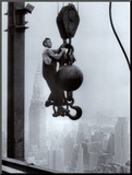 Construction Worker on the Empire State Building Mounted Print