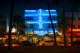 Miami Beach Art Deco District - The Colony Hotel by Night - Ocean Drive - Florida Photographic Print by Philippe Hugonnard