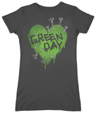 Juniors: Green Day - Nail Heart T-shirt