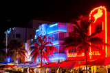 Colorful Street Life at Night - Ocean Drive - Miami Photographic Print by Philippe Hugonnard