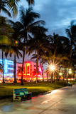 Colorful Street Life - Ocean Drive by Night - Miami Photographic Print by Philippe Hugonnard