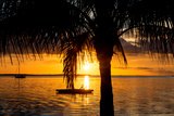 Sunset Landscape with Yacht and Floating Platform - Miami - Florida Photographic Print by Philippe Hugonnard