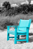 Blue Chair abandoned on the Beach Photographic Print by Philippe Hugonnard