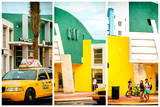 Triptych Collection - Art Deco Architecture - Yellow Cab of Miami Beach - Florida - USA Photographic Print by Philippe Hugonnard