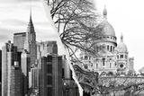 Dual Torn Posters Series - Paris - New York Fotografisk tryk af Philippe Hugonnard
