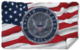 Navy - Flag Seal Fleece Blanket Fleece Blanket