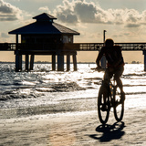 Cyclist on a Florida Beach at Sunset Photographic Print by Philippe Hugonnard