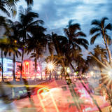 Instants of Series - Colorful Street Life - Ocean Drive by Night - Miami Photographic Print by Philippe Hugonnard