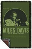 Miles Davis - Green Miles Woven Throw Throw Blanket