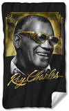 Ray Charles - Golden Glasses Fleece Blanket Fleece Blanket