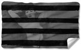 Bettie Page - Black Stripes Fleece Blanket Fleece Blanket