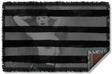Bettie Page - Black Stripes Woven Throw Throw Blanket