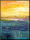 Gold And Pink Sunset On Lake Michigan Mounted Print by Michelle Calkins
