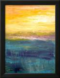 Gold And Pink Sunset On Lake Michigan Framed Giclee Print by Michelle Calkins