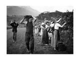 Grape Harvest in the Haut-Grésivaudan in Southern France, 1943 Photographie par  Scherl
