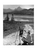 Ein Malerin am Weißensee in der Nähe von Füssen, 1934 Photographic Print by  Knorr & Hirth