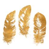 Gold Feather Square (gold foil) Kunstdrucke von Patricia Pinto