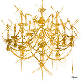 Gold Chandelier (gold foil) Prints by Heather French-Roussia