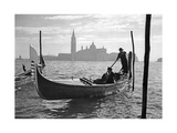 Gondolier in Front of San Giorgio Maggiore in Venice, 1939 Photographic Print by  SZ Photo