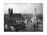 Scherl - Frauenkirche und Neues Rathaus in München - Fotografik Baskı