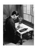 Kohei Murakoso während einer Kalligraphie-Studie, 1937 Photographic Print by Knorr Hirth Süddeutsche Zeitung Photo
