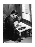 Japanese Olympic Athlete Kohei Murakoso Practicing Calligraphy, 1937 Photographic Print by  Knorr & Hirth