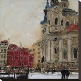 St Nicholas from the Square, Prague Stretched Canvas Print by Susan Brown