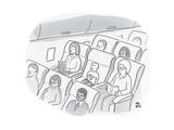 A well-behaved boy on an airplane wears a t-shirt that reads Airplane mode - New Yorker Cartoon Premium Giclee Print by Paul Noth