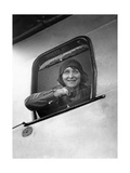 Young Woman Looking Past an Open Airplane Window, 1929 Photographic Print by  Scherl