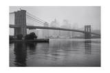 Brooklyn Bridge and New York City in Mist Photographic Print by Henri Silberman