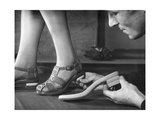 Adjusting a Pair of Sandals at a Shoe Factoy in Berlin, 1940 Photographic Print by  SZ Photo