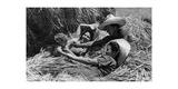 Junge Kolonisten in Italienisch-Libyen bei der Mittagspause, 1930er Jahre Fotografisk tryk af SZ Photo