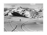 Skifahrer in den Südtiroler Dolomiten bei Cortina, 1930er Jahre Fotografisk trykk av  Scherl