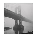 Manhattan Bridge Tower in Fog Photographic Print by Henri Silberman