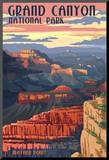 Grand Canyon National Park - Mather Point Mounted Print by  Lantern Press