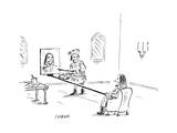 A Renaissance noble holds out a canvas on a long rod, as an artist paints … - New Yorker Cartoon Premium Giclee Print by David Sipress