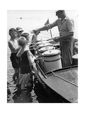 Iceman Selling Ice-Cream from Aboard a Boat on the Lange See Near Berlin, 1930S Photographic Print by  Scherl
