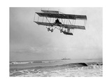 Belgian Pilot Charles Van Den Born in a Flying Machine by Farman, 1910 Photographic Print by  Scherl
