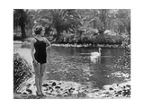 Swimwear at a Water Lily Pond, 1927 Photographic Print by  Scherl