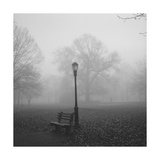 Park Bench, Lamp Post in Fog Photographic Print by Henri Silberman