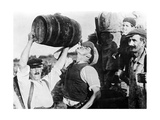 Man Drinking Wine During Grape Harvest in France, 1940 Photographic Print by  Scherl