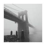 Brooklyn Bridge and Pilings in Fog Photographic Print by Henri Silberman
