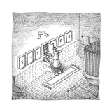 A man's bathroom medicine cabinets are labeled like a daily pillbox.  - New Yorker Cartoon Premium Giclee Print by John O'brien