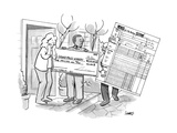 A man with a giant sweepstakes check for a billion dollars is followed by … - New Yorker Cartoon Premium Giclee Print by Benjamin Schwartz