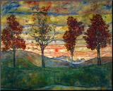 Four Trees, c.1917 Mounted Print by Egon Schiele