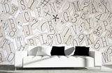 Creative Collage Classic Typography - 64 piece Wallpaper Collage Wallpaper Mural