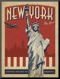 New York, NY (Statue of Liberty) Mounted Print by  Anderson Design Group