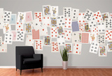 Creative Collage Vintage Playing Cards - 64 piece Wallpaper Collage Mural de papel de parede